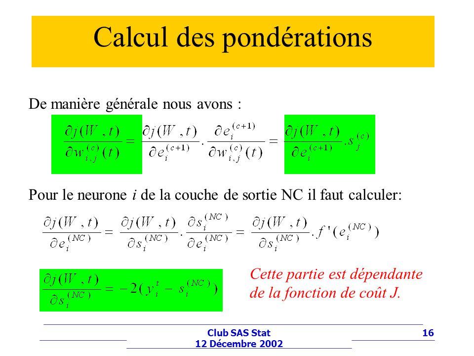 16Club SAS Stat 12 Décembre 2002 Calcul des pondérations Pour le neurone i de la couche de sortie NC il faut calculer: De manière générale nous avons