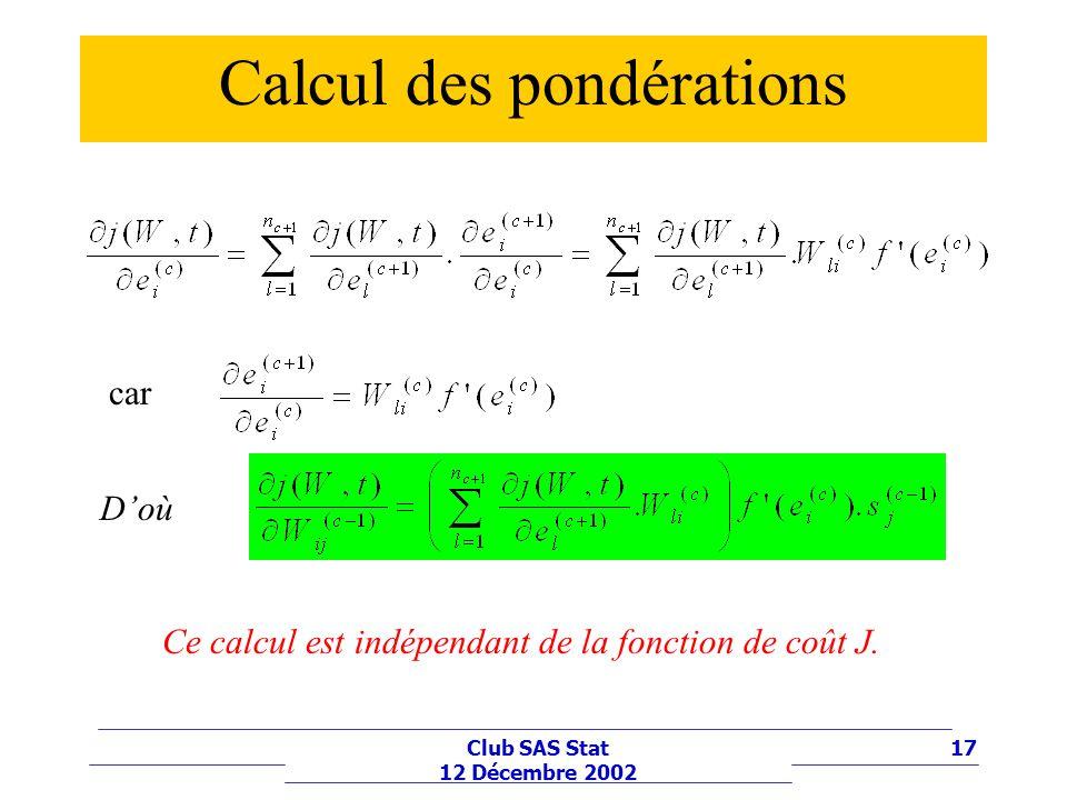 17Club SAS Stat 12 Décembre 2002 Calcul des pondérations car Doù Ce calcul est indépendant de la fonction de coût J.