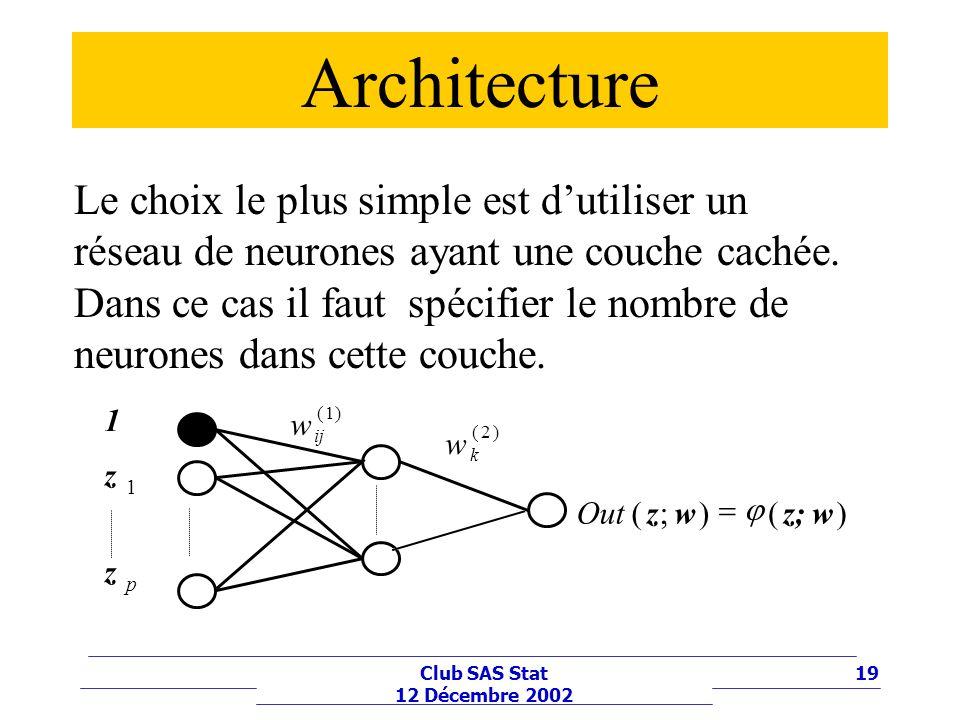 19Club SAS Stat 12 Décembre 2002 Architecture Le choix le plus simple est dutiliser un réseau de neurones ayant une couche cachée. Dans ce cas il faut