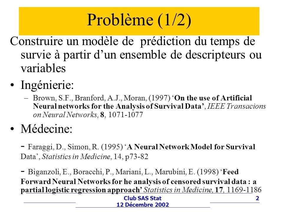 2Club SAS Stat 12 Décembre 2002 Problème (1/2) Construire un modèle de prédiction du temps de survie à partir dun ensemble de descripteurs ou variable
