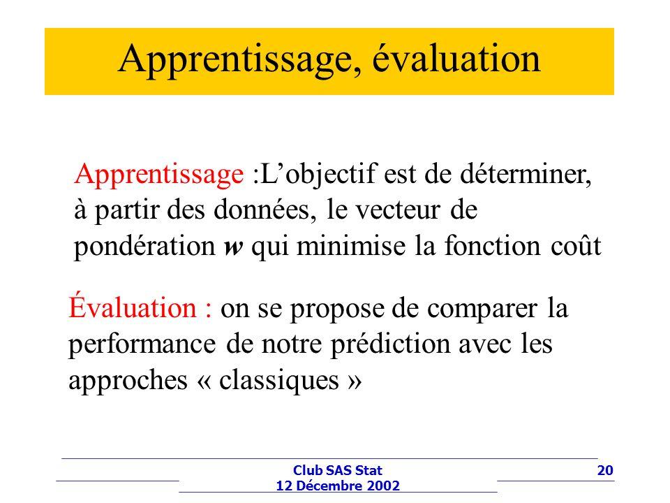 20Club SAS Stat 12 Décembre 2002 Apprentissage, évaluation Apprentissage :Lobjectif est de déterminer, à partir des données, le vecteur de pondération