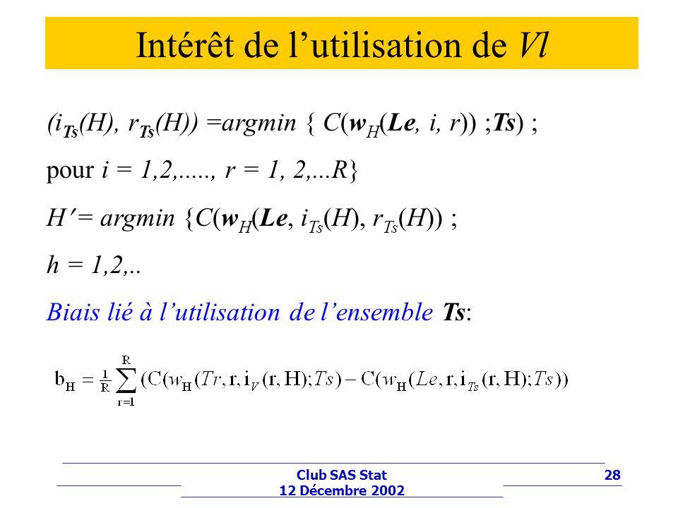 28Club SAS Stat 12 Décembre 2002 (i Ts (H), r Ts (H)) =argmin { C(w H (Le, i, r)) ;Ts) ; pour i = 1,2,....., r = 1, 2,...R} H = argmin {C(w H (Le, i T
