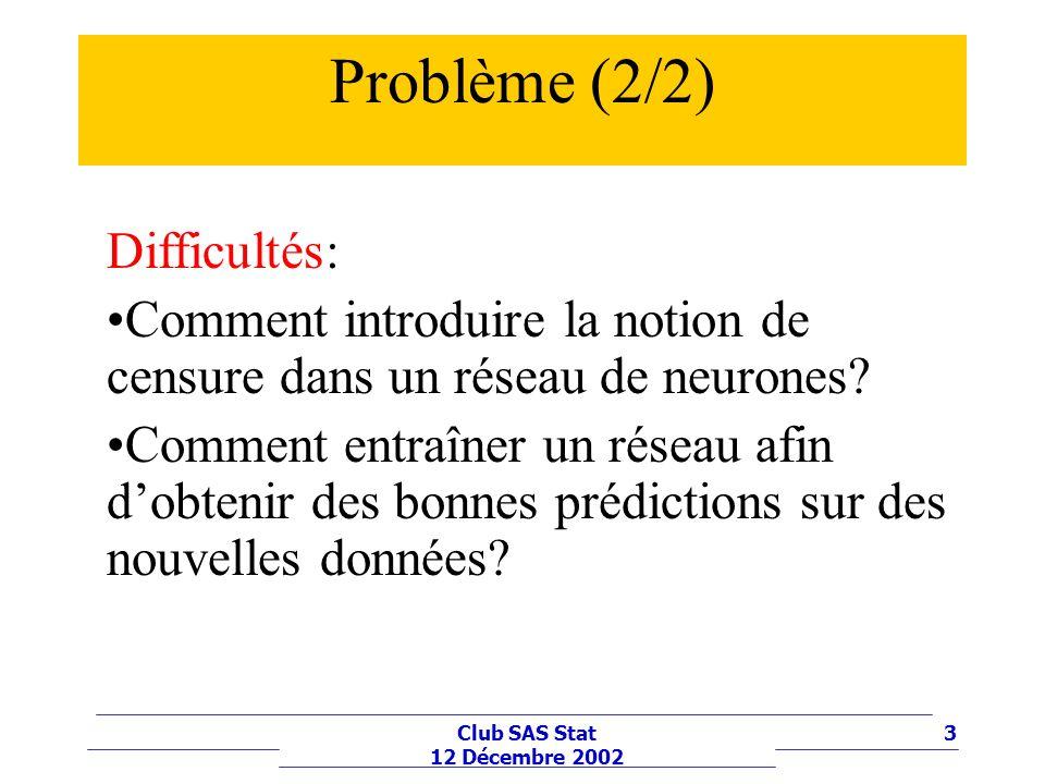 3Club SAS Stat 12 Décembre 2002 Problème (2/2) Difficultés: Comment introduire la notion de censure dans un réseau de neurones? Comment entraîner un r