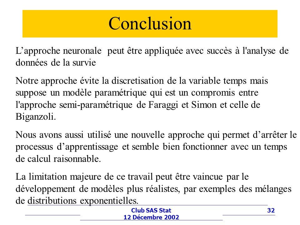 32Club SAS Stat 12 Décembre 2002 Conclusion Lapproche neuronale peut être appliquée avec succès à l'analyse de données de la survie Notre approche évi