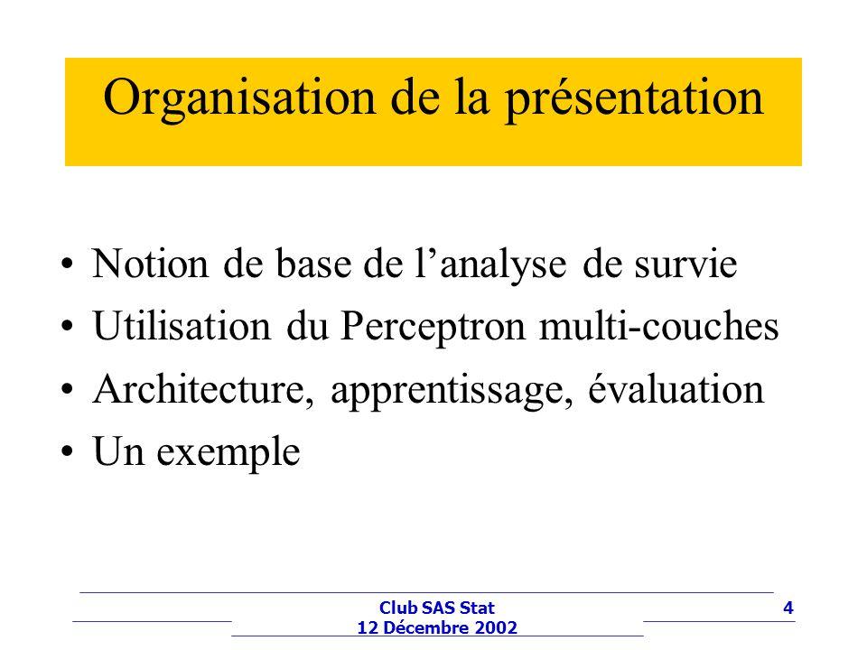 4Club SAS Stat 12 Décembre 2002 Organisation de la présentation Notion de base de lanalyse de survie Utilisation du Perceptron multi-couches Architect