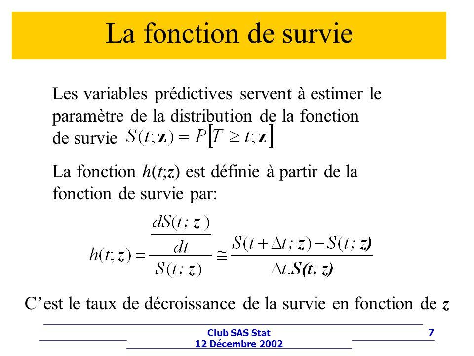 7Club SAS Stat 12 Décembre 2002 La fonction de survie Les variables prédictives servent à estimer le paramètre de la distribution de la fonction de su