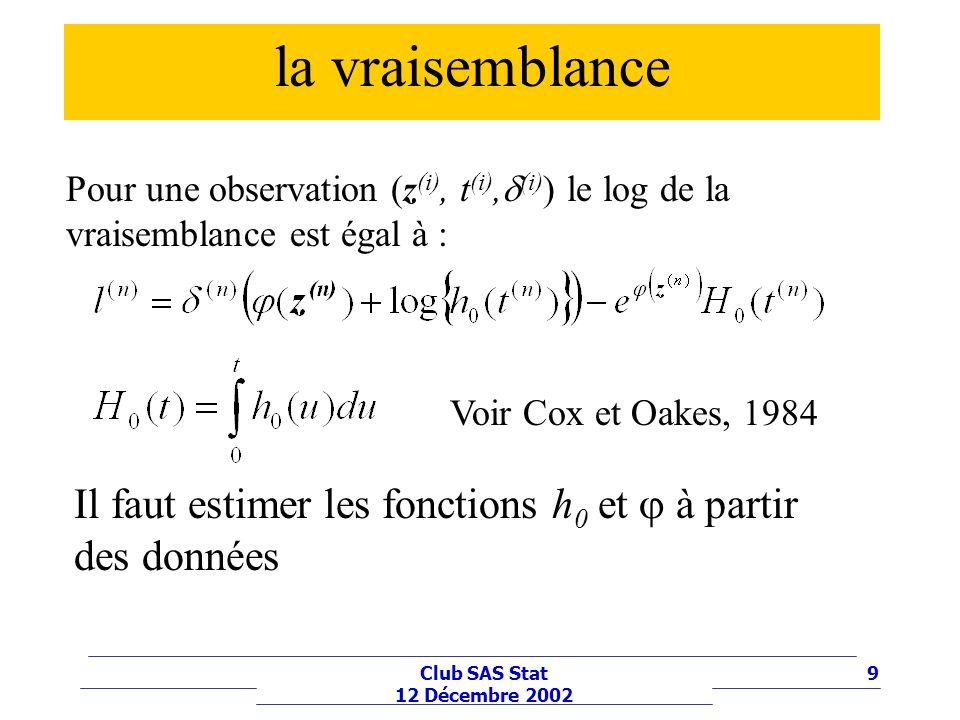 10Club SAS Stat 12 Décembre 2002 Modèle exponentiel (z) = wz On suppose que le fonction est linéaire et que h 0 (t) = 0 =constant doù léquation du log de la vraisemblance redéfinir