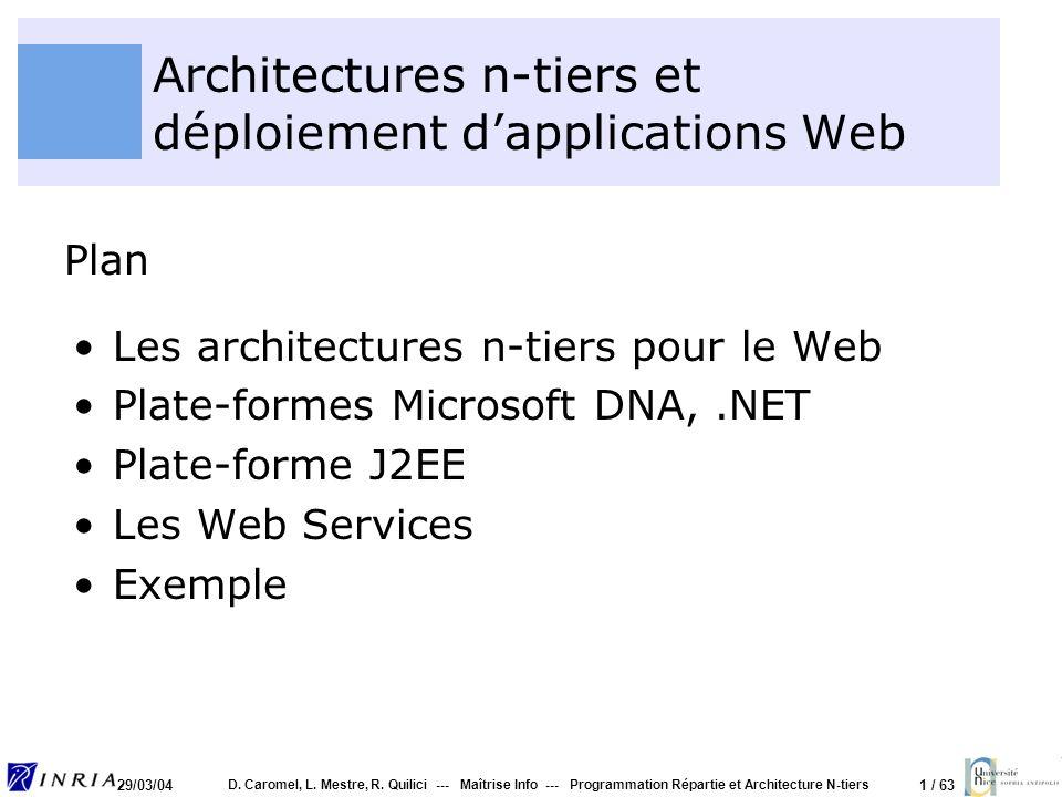 1 / 63 29/03/04 D. Caromel, L. Mestre, R. Quilici --- Maîtrise Info --- Programmation Répartie et Architecture N-tiers Architectures n-tiers et déploi
