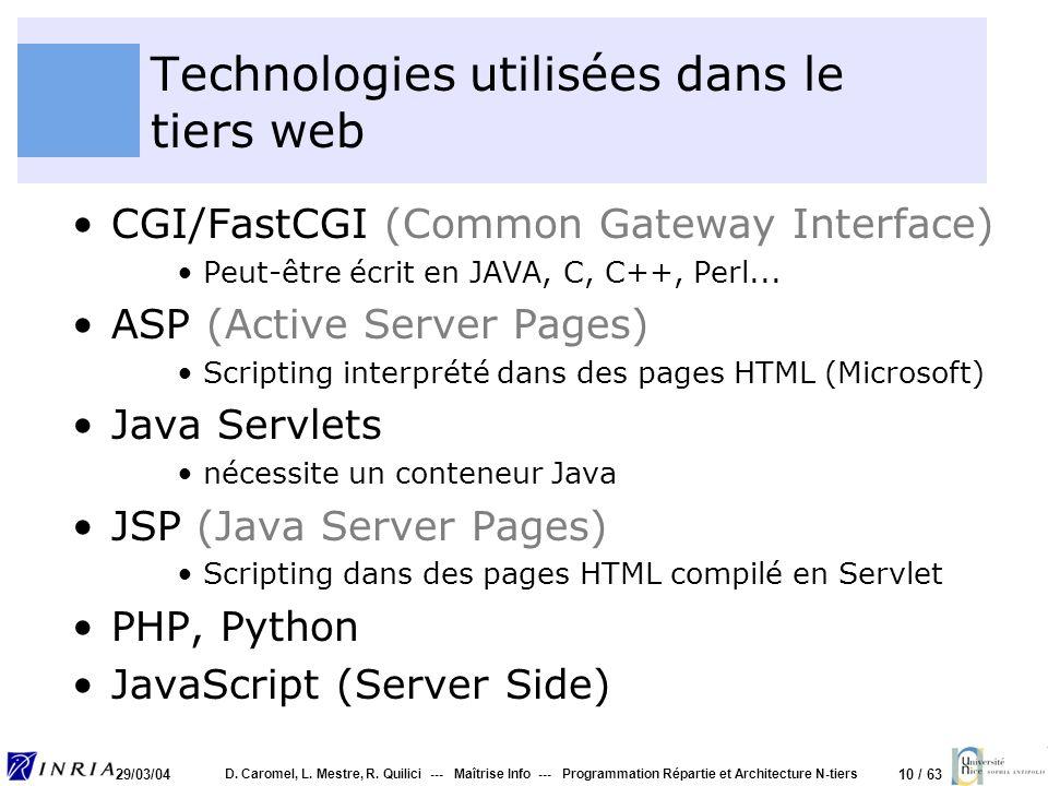 10 / 63 29/03/04 D. Caromel, L. Mestre, R. Quilici --- Maîtrise Info --- Programmation Répartie et Architecture N-tiers Technologies utilisées dans le