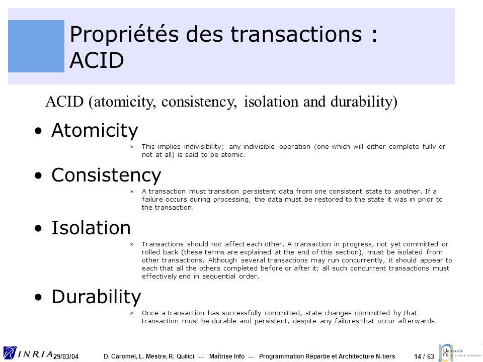14 / 63 29/03/04 D. Caromel, L. Mestre, R. Quilici --- Maîtrise Info --- Programmation Répartie et Architecture N-tiers Propriétés des transactions :