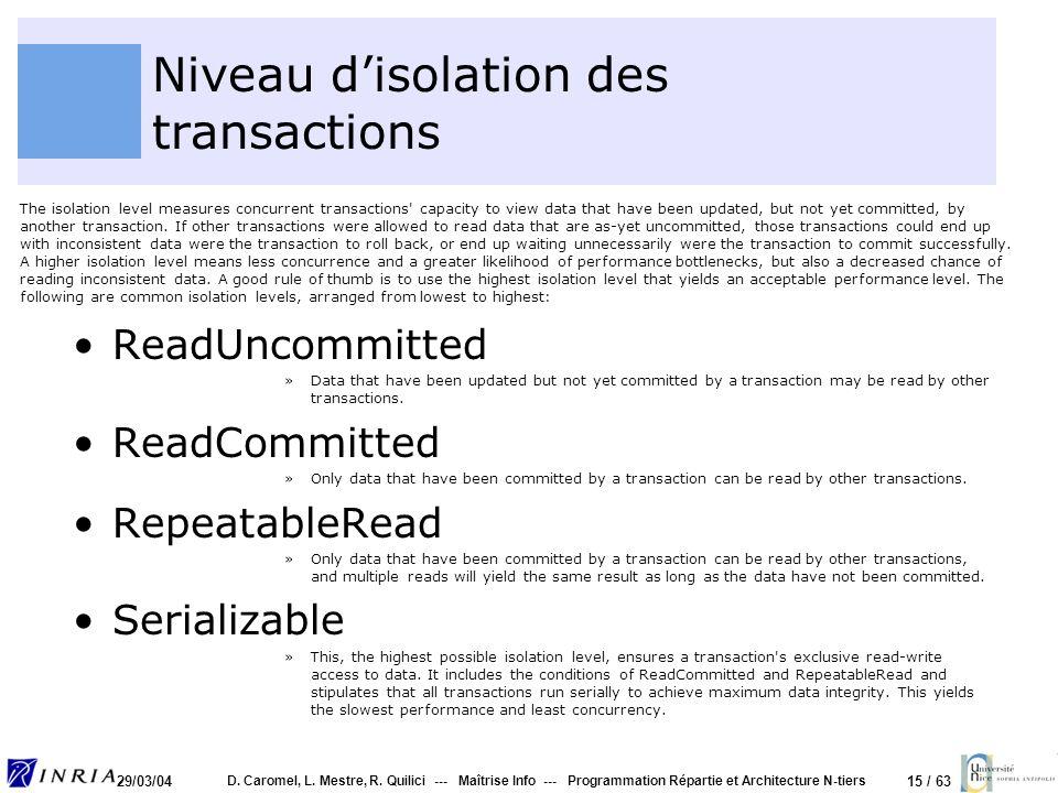 15 / 63 29/03/04 D. Caromel, L. Mestre, R. Quilici --- Maîtrise Info --- Programmation Répartie et Architecture N-tiers Niveau disolation des transact