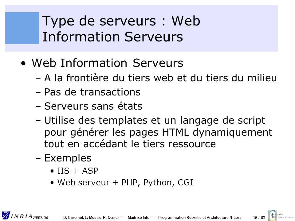 16 / 63 29/03/04 D. Caromel, L. Mestre, R. Quilici --- Maîtrise Info --- Programmation Répartie et Architecture N-tiers Type de serveurs : Web Informa
