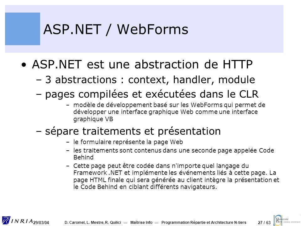 27 / 63 29/03/04 D. Caromel, L. Mestre, R. Quilici --- Maîtrise Info --- Programmation Répartie et Architecture N-tiers ASP.NET / WebForms ASP.NET est