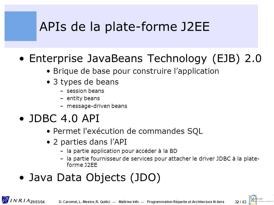 32 / 63 29/03/04 D. Caromel, L. Mestre, R. Quilici --- Maîtrise Info --- Programmation Répartie et Architecture N-tiers APIs de la plate-forme J2EE En