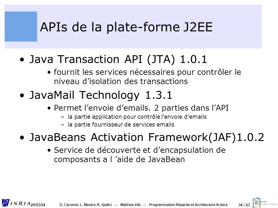 34 / 63 29/03/04 D. Caromel, L. Mestre, R. Quilici --- Maîtrise Info --- Programmation Répartie et Architecture N-tiers APIs de la plate-forme J2EE Ja