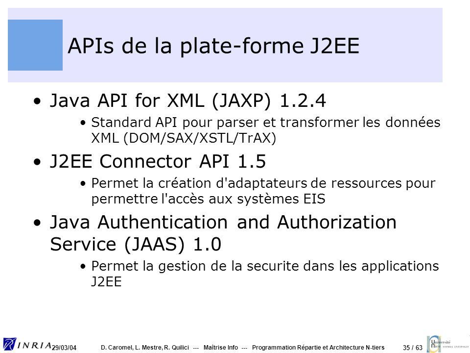 35 / 63 29/03/04 D. Caromel, L. Mestre, R. Quilici --- Maîtrise Info --- Programmation Répartie et Architecture N-tiers APIs de la plate-forme J2EE Ja