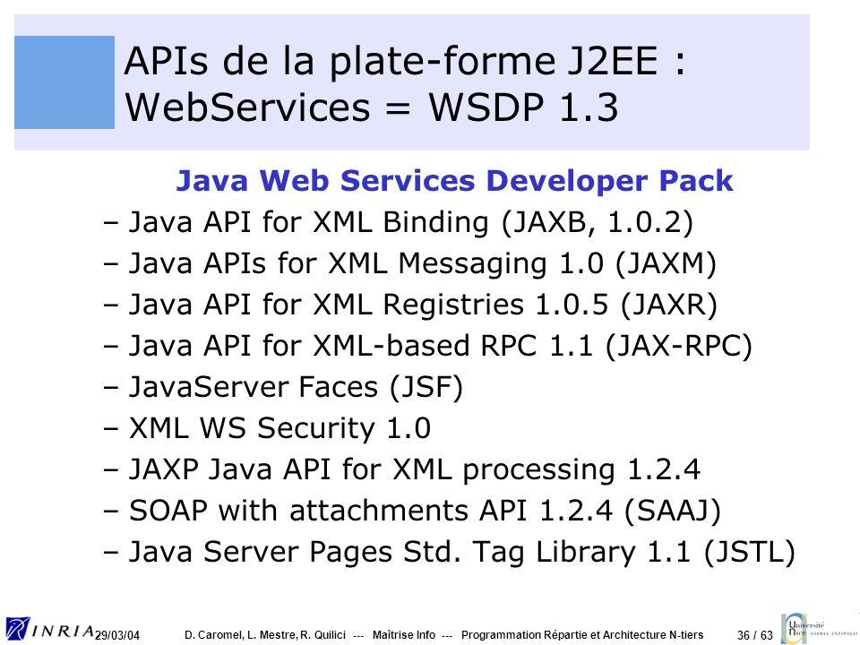 36 / 63 29/03/04 D. Caromel, L. Mestre, R. Quilici --- Maîtrise Info --- Programmation Répartie et Architecture N-tiers APIs de la plate-forme J2EE :