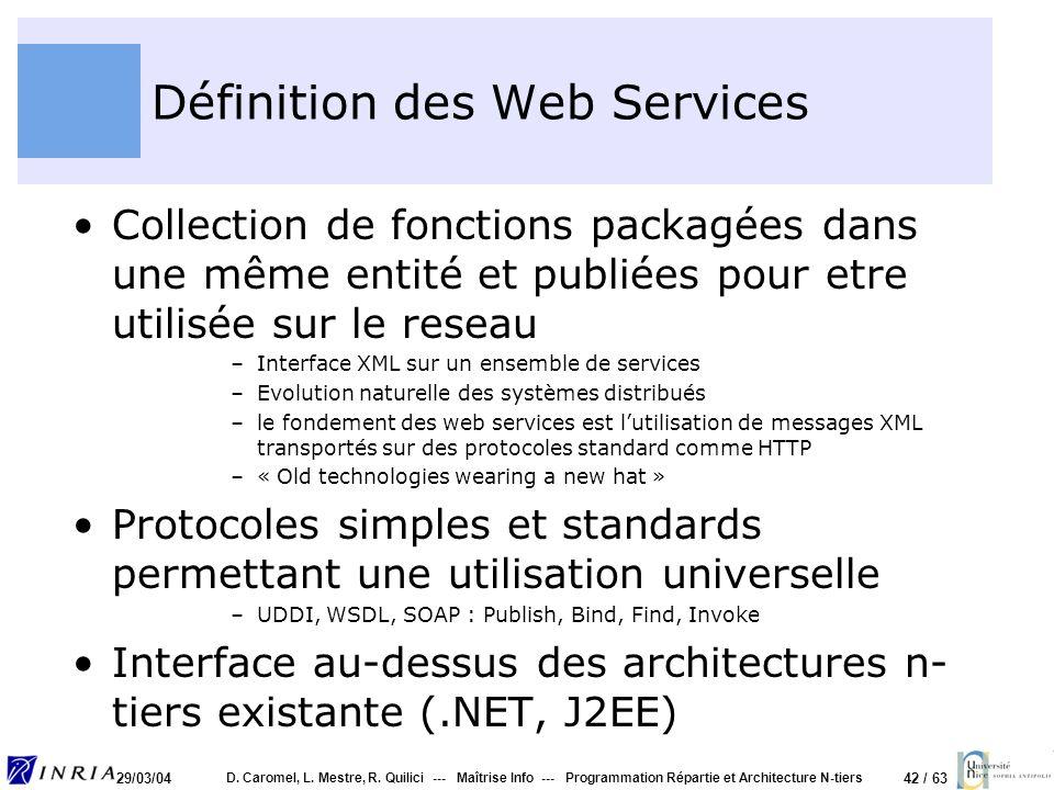 42 / 63 29/03/04 D. Caromel, L. Mestre, R. Quilici --- Maîtrise Info --- Programmation Répartie et Architecture N-tiers Définition des Web Services Co