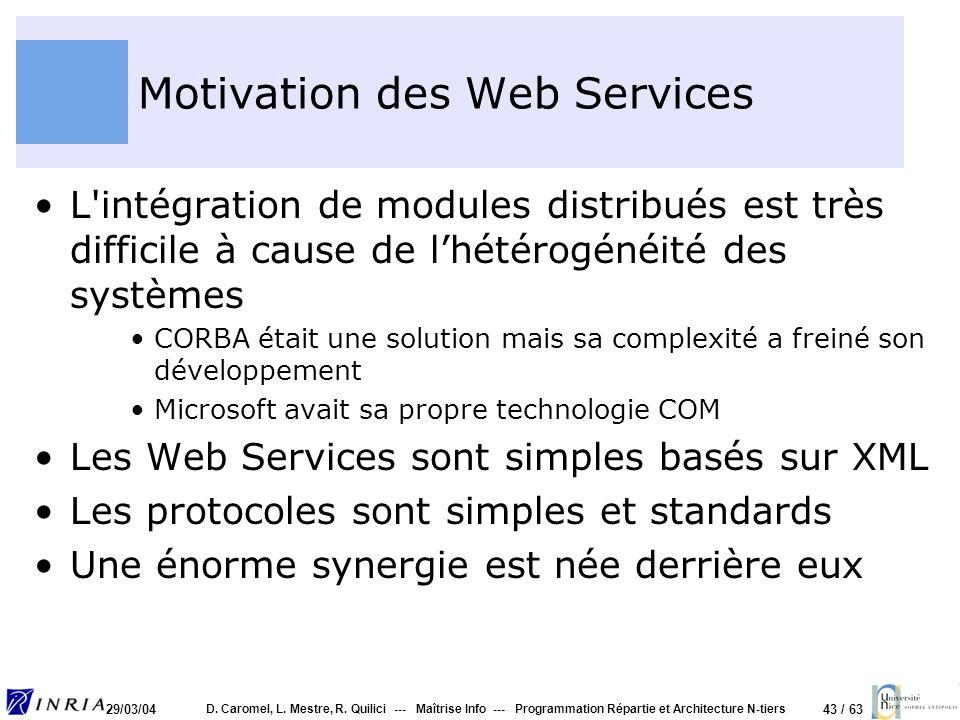 43 / 63 29/03/04 D. Caromel, L. Mestre, R. Quilici --- Maîtrise Info --- Programmation Répartie et Architecture N-tiers Motivation des Web Services L'