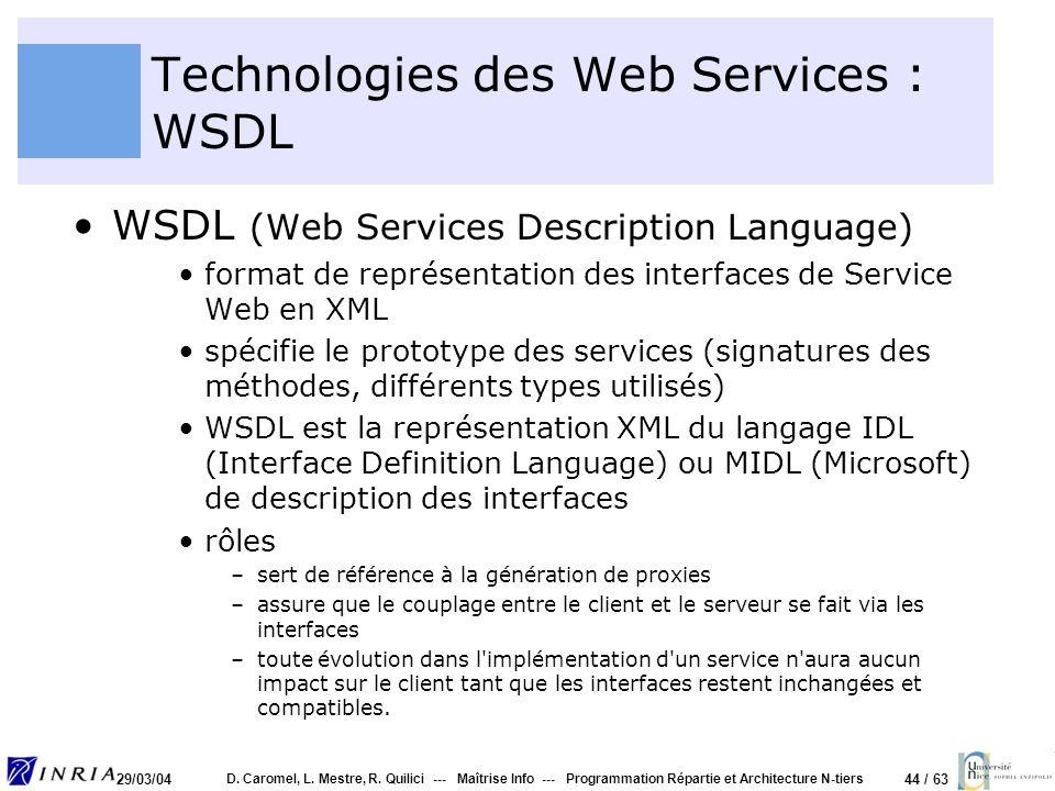 44 / 63 29/03/04 D. Caromel, L. Mestre, R. Quilici --- Maîtrise Info --- Programmation Répartie et Architecture N-tiers Technologies des Web Services