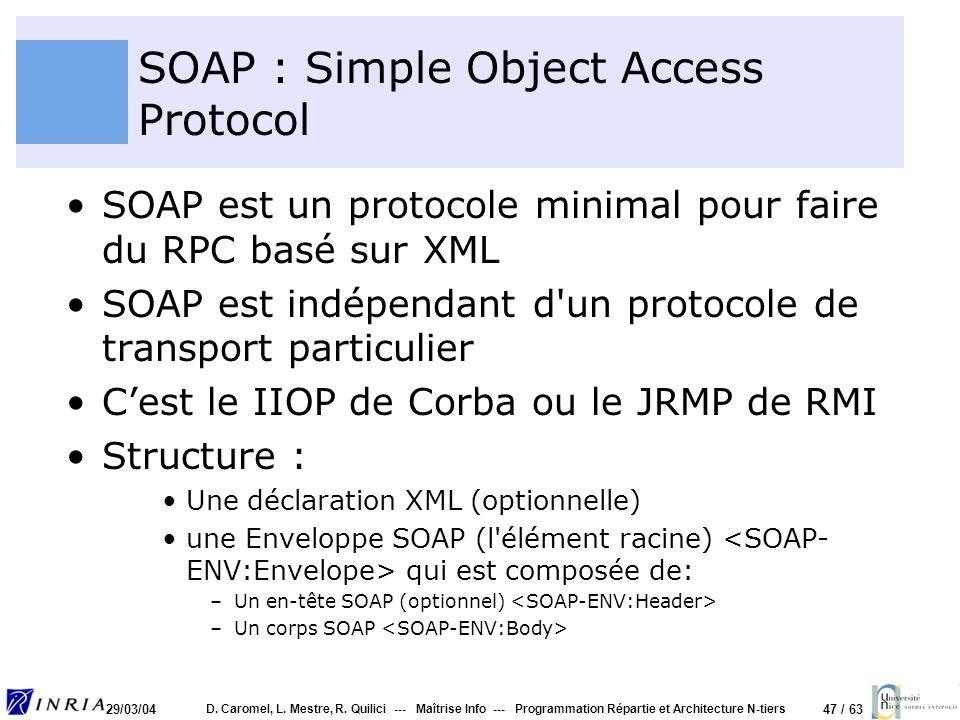 47 / 63 29/03/04 D. Caromel, L. Mestre, R. Quilici --- Maîtrise Info --- Programmation Répartie et Architecture N-tiers SOAP : Simple Object Access Pr