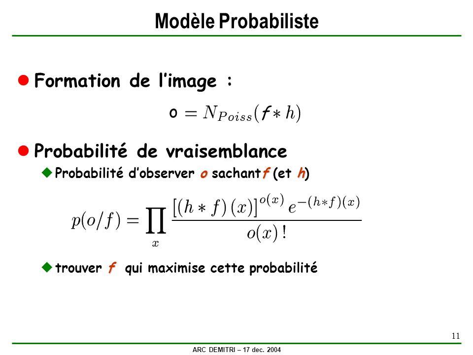 ARC DEMITRI – 17 dec. 2004 11 Modèle Probabiliste Formation de limage : Probabilité de vraisemblance ofh Probabilité dobserver o sachantf (et h) f tro