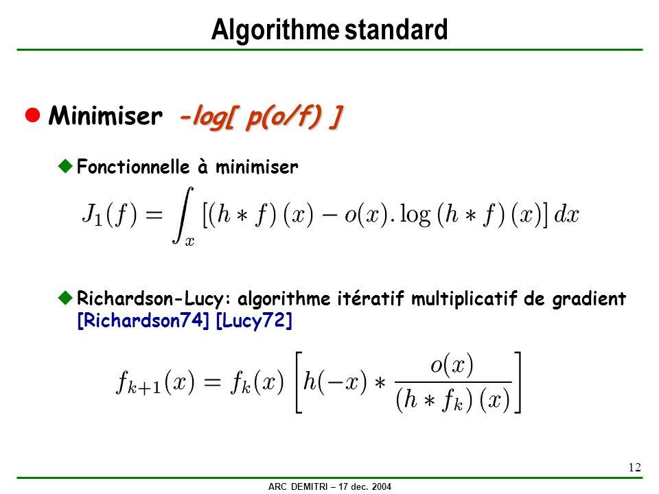 ARC DEMITRI – 17 dec. 2004 12 Algorithme standard -log[ p(o/f) ] Minimiser -log[ p(o/f) ] Fonctionnelle à minimiser Richardson-Lucy: algorithme itérat