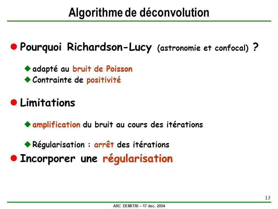 ARC DEMITRI – 17 dec. 2004 13 Algorithme de déconvolution Pourquoi Richardson-Lucy (astronomie et confocal) ? Poisson adapté au bruit de Poisson Contr