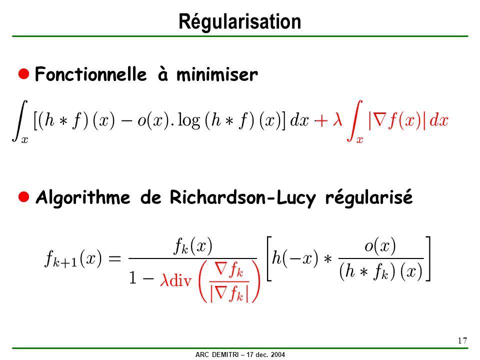 ARC DEMITRI – 17 dec. 2004 17 Régularisation Fonctionnelle à minimiser Algorithme de Richardson-Lucy régularisé