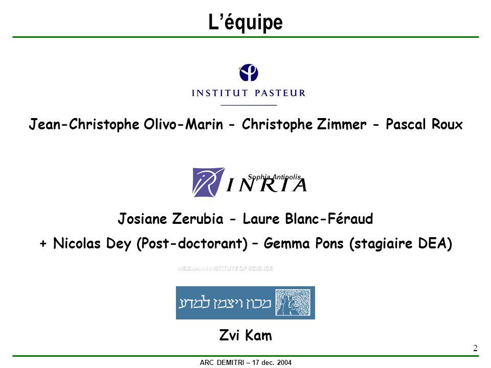 ARC DEMITRI – 17 dec. 2004 2 Léquipe Jean-Christophe Olivo-Marin - Christophe Zimmer - Pascal Roux Josiane Zerubia - Laure Blanc-Féraud + Nicolas Dey