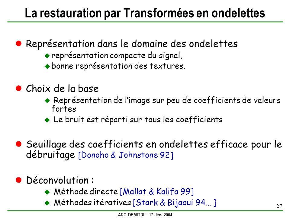 ARC DEMITRI – 17 dec. 2004 27 La restauration par Transformées en ondelettes Représentation dans le domaine des ondelettes représentation compacte du