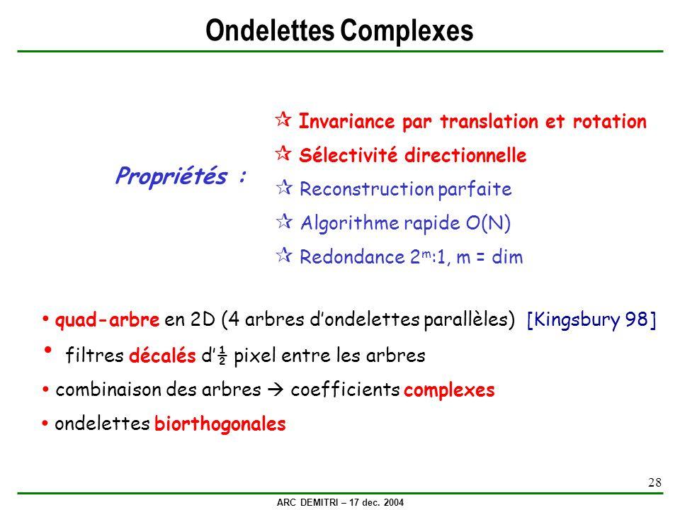 ARC DEMITRI – 17 dec. 2004 28 Ondelettes Complexes quad-arbre en 2D (4 arbres dondelettes parallèles) [Kingsbury 98] filtres décalés d½ pixel entre le
