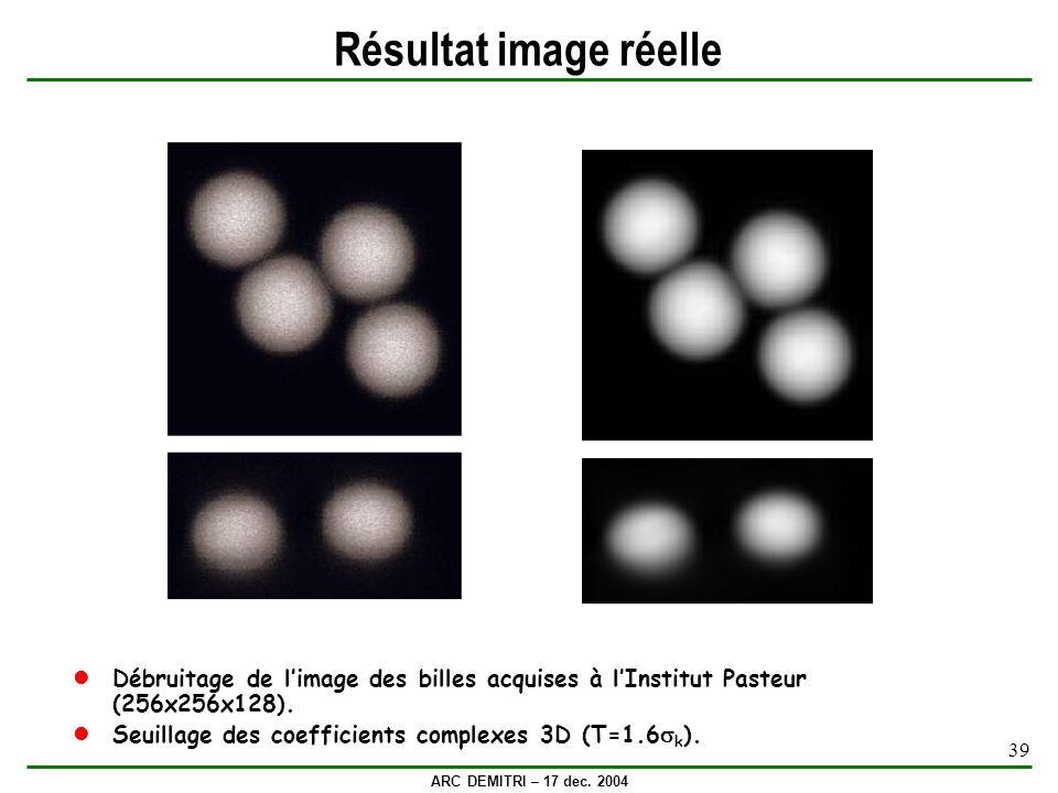 ARC DEMITRI – 17 dec. 2004 39 Résultat image réelle Débruitage de limage des billes acquises à lInstitut Pasteur (256x256x128). Seuillage des coeffici