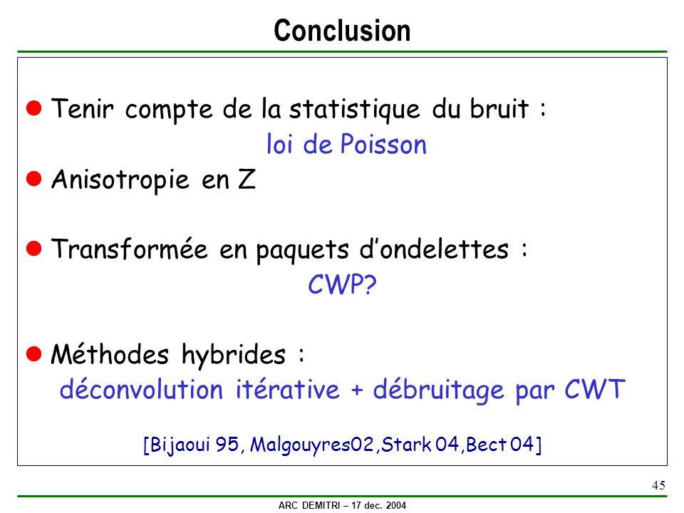 ARC DEMITRI – 17 dec. 2004 45 Conclusion Tenir compte de la statistique du bruit : loi de Poisson Anisotropie en Z Transformée en paquets dondelettes