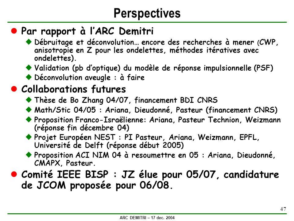 ARC DEMITRI – 17 dec. 2004 47 Perspectives Par rapport à lARC Demitri Débruitage et déconvolution… encore des recherches à mener ( CWP, anisotropie en