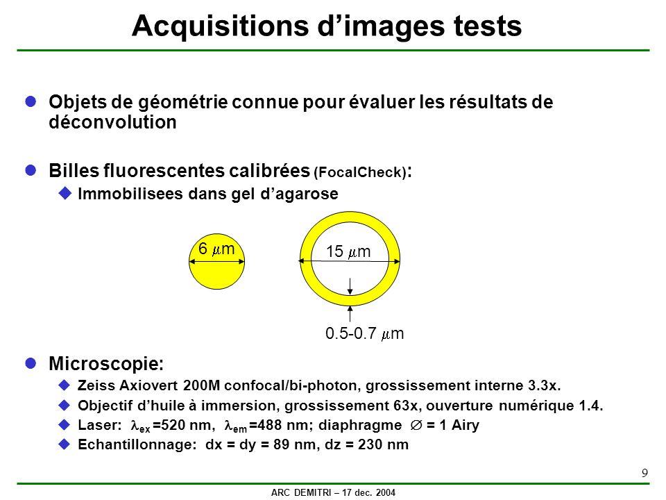 ARC DEMITRI – 17 dec. 2004 9 Acquisitions dimages tests Objets de géométrie connue pour évaluer les résultats de déconvolution Billes fluorescentes ca