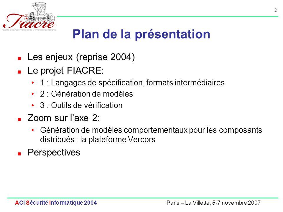 2 ACI Sécurité Informatique 2004Paris – La Villette, 5-7 novembre 2007 Plan de la présentation Les enjeux (reprise 2004) Le projet FIACRE: 1 : Langage