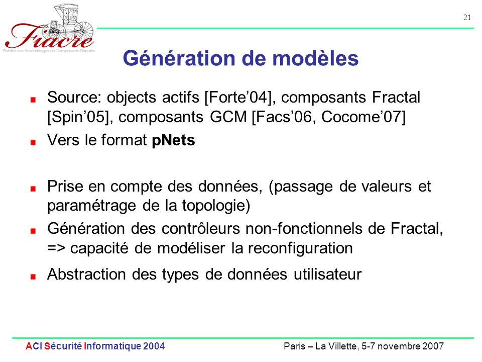 21 ACI Sécurité Informatique 2004Paris – La Villette, 5-7 novembre 2007 Génération de modèles Source: objects actifs [Forte04], composants Fractal [Spin05], composants GCM [Facs06, Cocome07] Vers le format pNets Prise en compte des données, (passage de valeurs et paramétrage de la topologie) Génération des contrôleurs non-fonctionnels de Fractal, => capacité de modéliser la reconfiguration Abstraction des types de données utilisateur