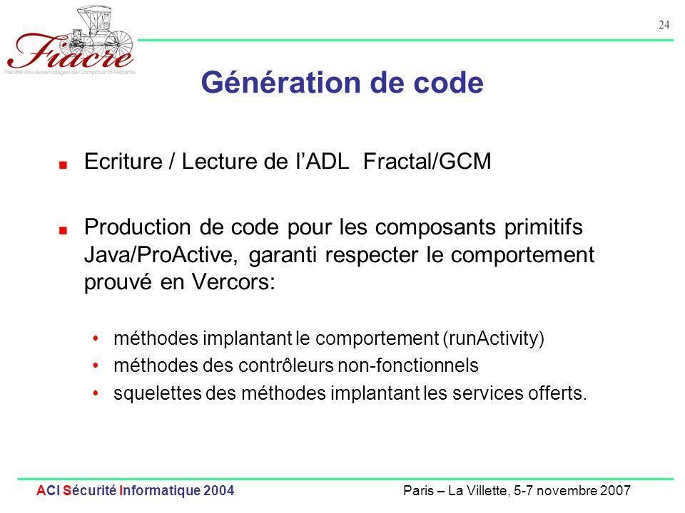 24 ACI Sécurité Informatique 2004Paris – La Villette, 5-7 novembre 2007 Génération de code Ecriture / Lecture de lADL Fractal/GCM Production de code p