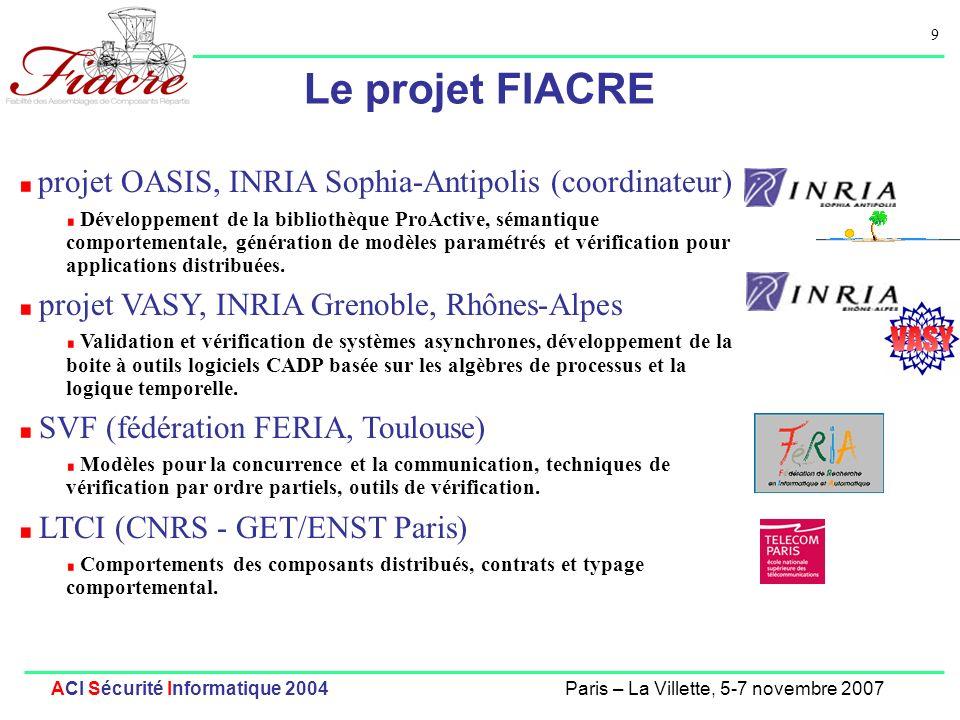 9 ACI Sécurité Informatique 2004Paris – La Villette, 5-7 novembre 2007 Le projet FIACRE projet OASIS, INRIA Sophia-Antipolis (coordinateur) Développem