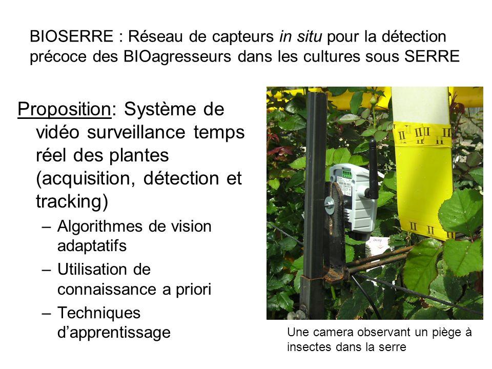 BIOSERRE : Réseau de capteurs in situ pour la détection précoce des BIOagresseurs dans les cultures sous SERRE Proposition: Système de vidéo surveilla