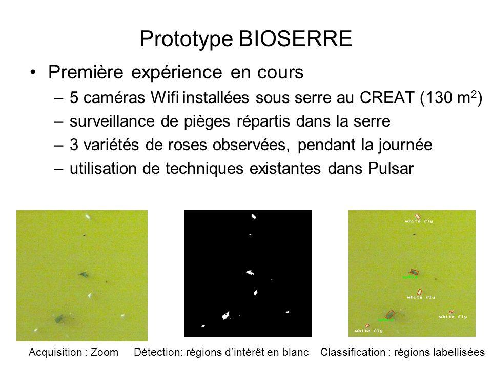 Prototype BIOSERRE Première expérience en cours –5 caméras Wifi installées sous serre au CREAT (130 m 2 ) –surveillance de pièges répartis dans la ser