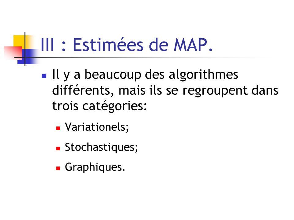 III : Estimées de MAP. Il y a beaucoup des algorithmes différents, mais ils se regroupent dans trois catégories: Variationels; Stochastiques; Graphiqu