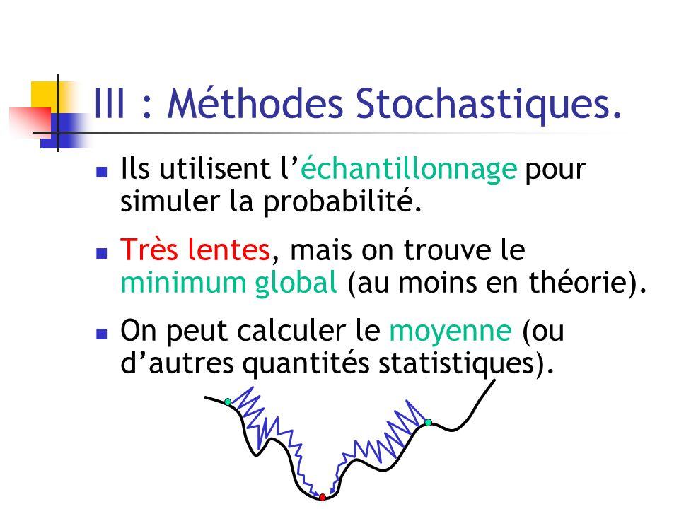 III : Méthodes Stochastiques. Ils utilisent léchantillonnage pour simuler la probabilité. Très lentes, mais on trouve le minimum global (au moins en t