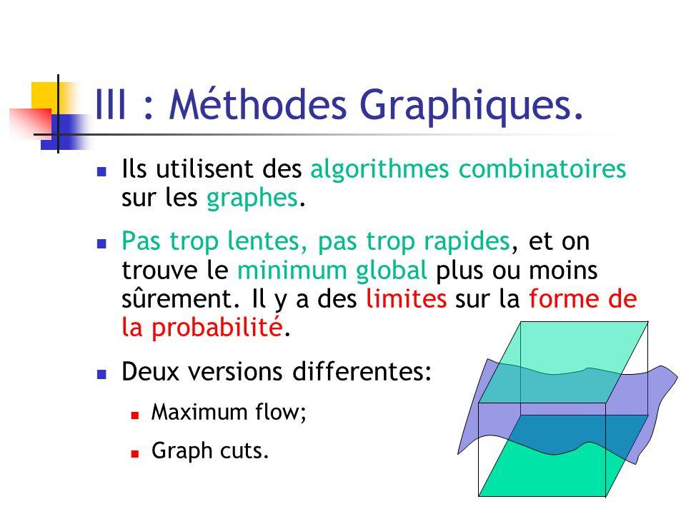 III : Méthodes Graphiques. Ils utilisent des algorithmes combinatoires sur les graphes. Pas trop lentes, pas trop rapides, et on trouve le minimum glo