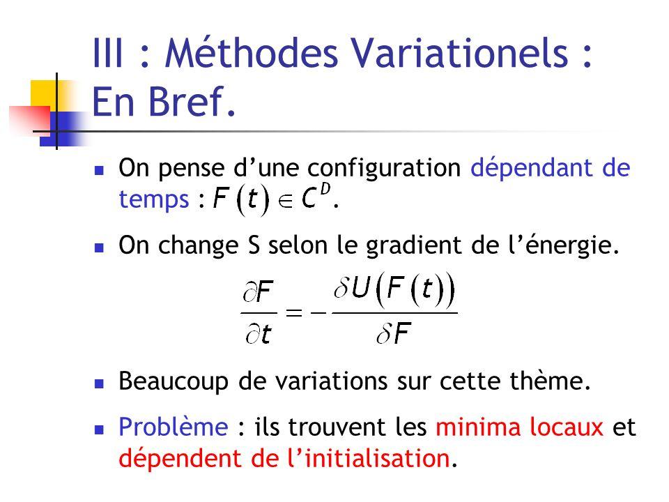 III : Méthodes Variationels : En Bref. On pense dune configuration dépendant de temps :. On change S selon le gradient de lénergie. Beaucoup de variat