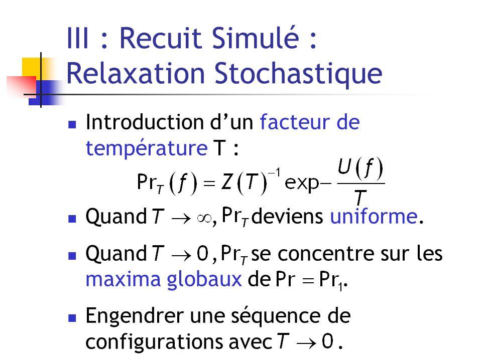 III : Recuit Simulé : Relaxation Stochastique Introduction dun facteur de température T : Quand, deviens uniforme. Quand, se concentre sur les maxima