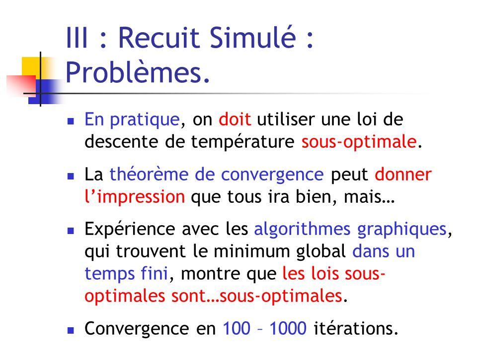 III : Recuit Simulé : Problèmes. En pratique, on doit utiliser une loi de descente de température sous-optimale. La théorème de convergence peut donne