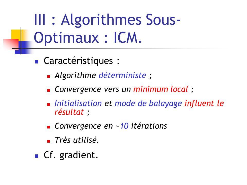III : Algorithmes Sous- Optimaux : ICM. Caractéristiques : Algorithme déterministe ; Convergence vers un minimum local ; Initialisation et mode de bal