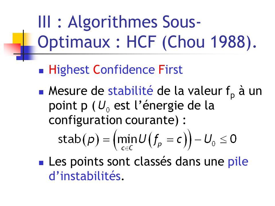 III : Algorithmes Sous- Optimaux : HCF (Chou 1988). Highest Confidence First Mesure de stabilité de la valeur f p à un point p ( est lénergie de la co